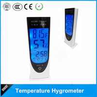 LCD Luminous with clock portable digital electronic thermometer hygrometer