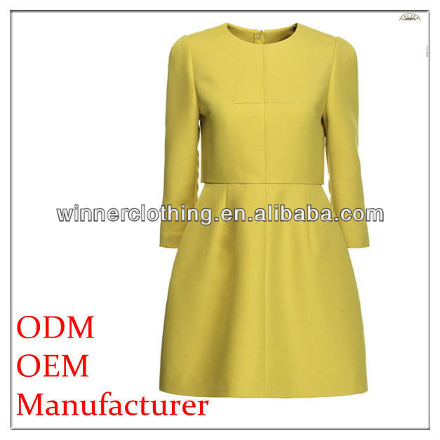 umbrella bottom office dresses with knee length in yellow color