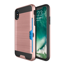 Flank Card Holder Function Hybrid Hard Rugged Phone Case For iPhone 8