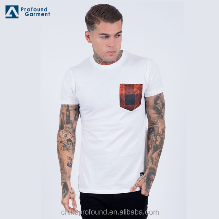 Custom cotton t shirt men high quality cheap pocket tshirts