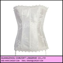 white Stunning Floral Tapestry Strapless back pain corset