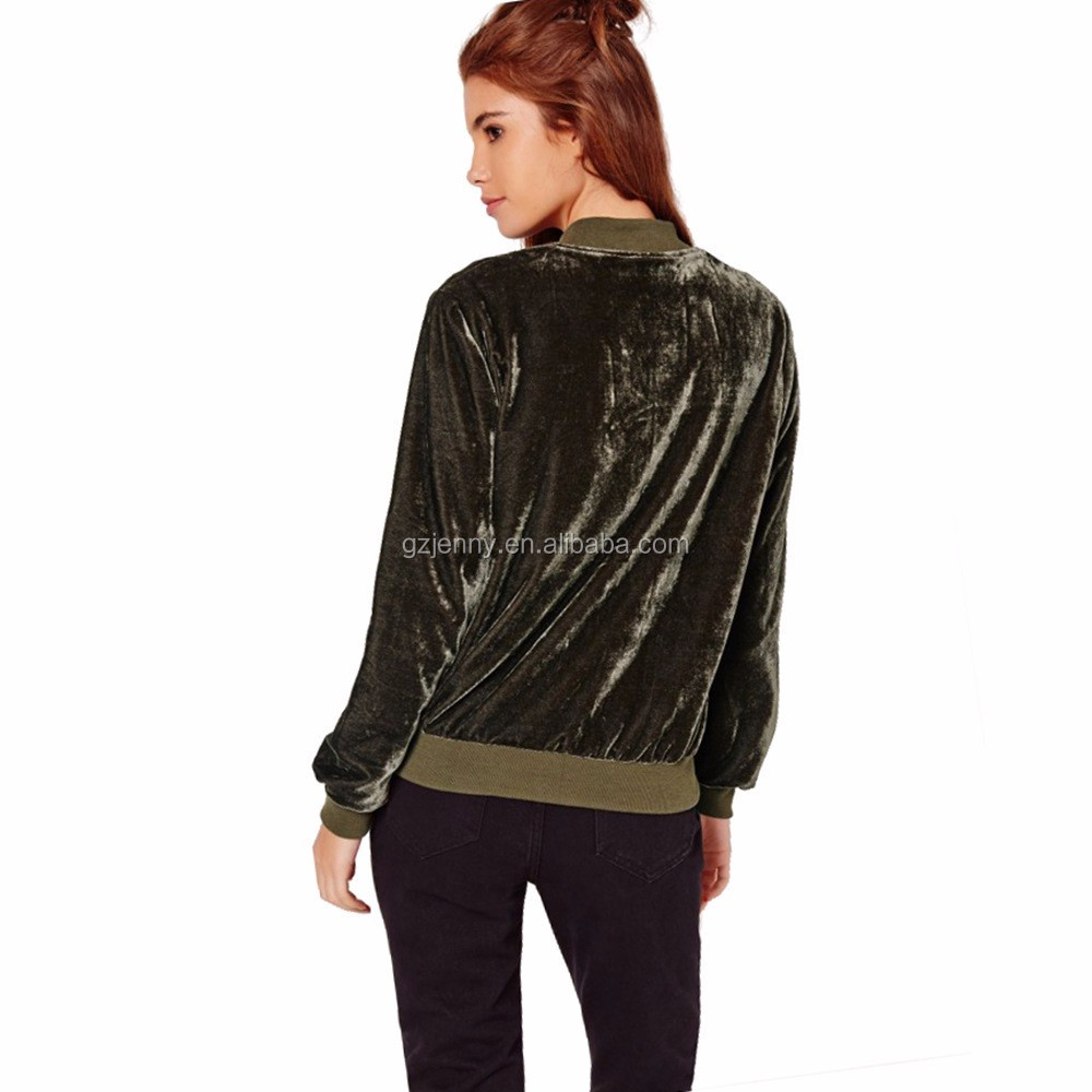 OEM/ODM Embroidered Women Jackets Coats Autumn Outwear Warm Ladies Blank Velvet Jackets with Zippers