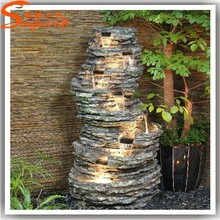 2017 Guangzhou factory manufacture artificial plastic rock waterfall fountains with lights