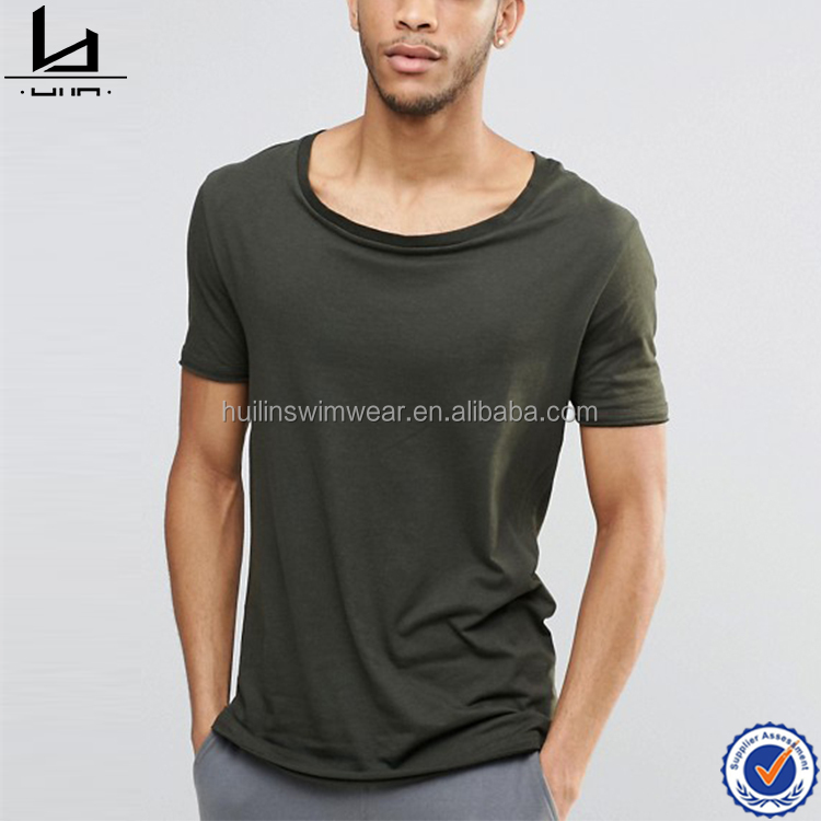 Oem service spring cool scoop round neck t shirt mens casual fit longline t shirt