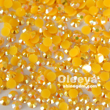 Wholesale 4mm flatback citrine ab non hotfix stone resin jelly stone nail art rhinestone for nail art decorations