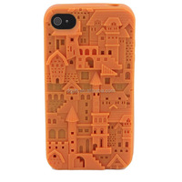 embossed castle silicone phone cover phone for iphone4