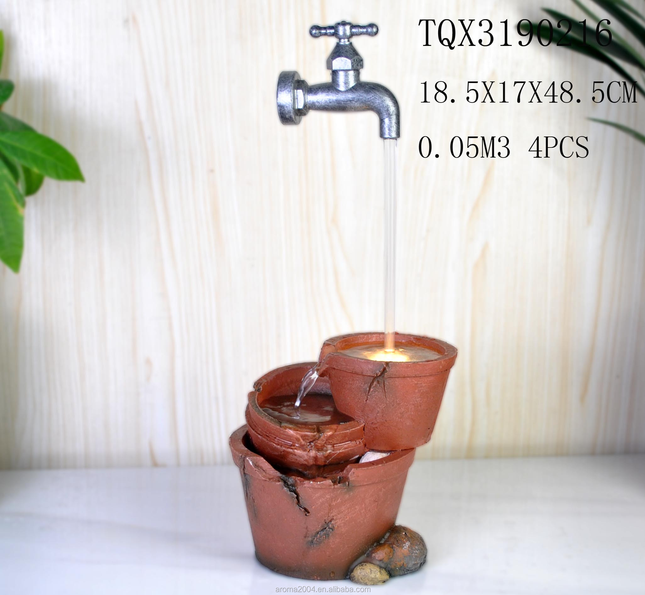 resin decor waterfall water fountain with faucet