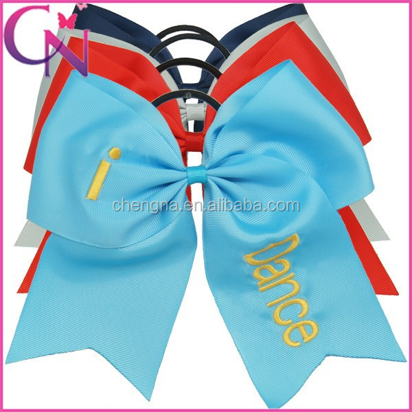 New Arrival Wholesale English Letters Printed Hair Bows,3 Inch Ribbon Cheer Bows With Elastic Band CNHB-131183