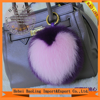 High Quality Heart shape Keychain Keyring Key chain Fox Fur Pom Pom Real Fox Fur