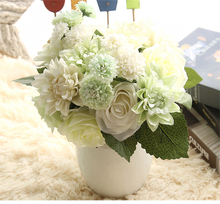 High Grade Korean style Wedding Bridal bouquet Silk Artificial Dahlia Rose Flower Bouquet