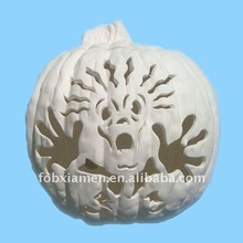 """freaked out"" halloween ceramic bisque lighted pumpkin"