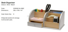 Wholesale blue color wooden desk organizer office stationery drawer organizer