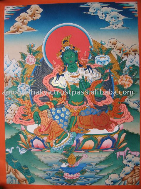 Green tara - Beautiful Green tara High Quality Tibetan Thangka Nepal Crafts