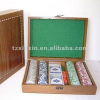 wooden box for poker set and chips 3047