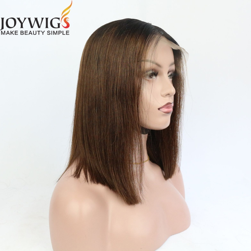 Ombre color brazilian human hair bob wig short human hair wig for black women