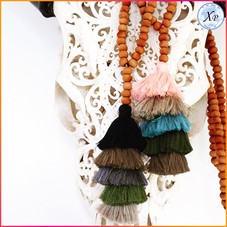 XP-PN-1487 Fashion Good Tassel Long Wooden Beads Mala Prayer Beaded Tassel Necklace