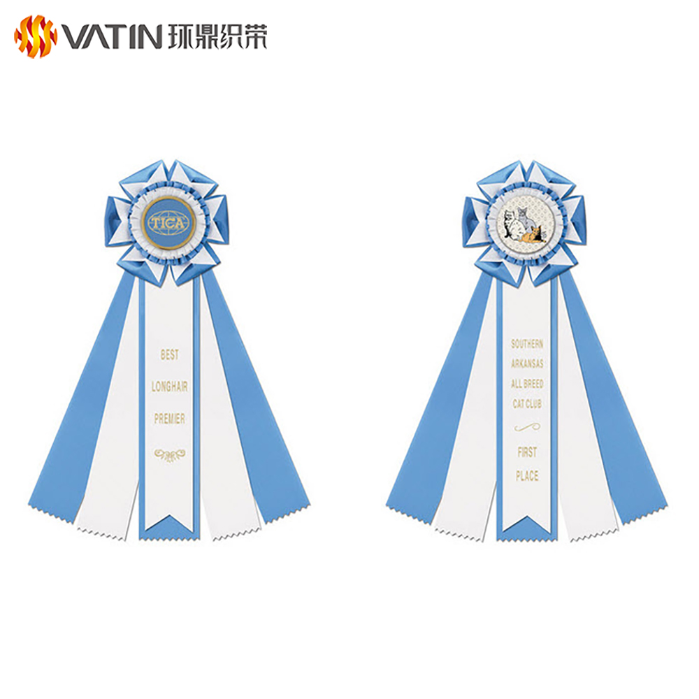 Design Custom Logo Printed Horse Dog Cat Shows Participation Printed Award Rosette Prize Celebrate it Ribbon