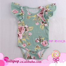 Super Cute Babygrow FLORAL Solid Cotton Ruffle Cotton Chiffon Flutter Sleeve Baby Girl Romper Onesie Unique Baby Names Pictures