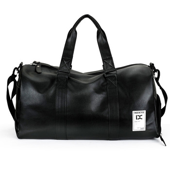 Black breathable fitness sack exercise duffel custom logo men PU leather travel bag