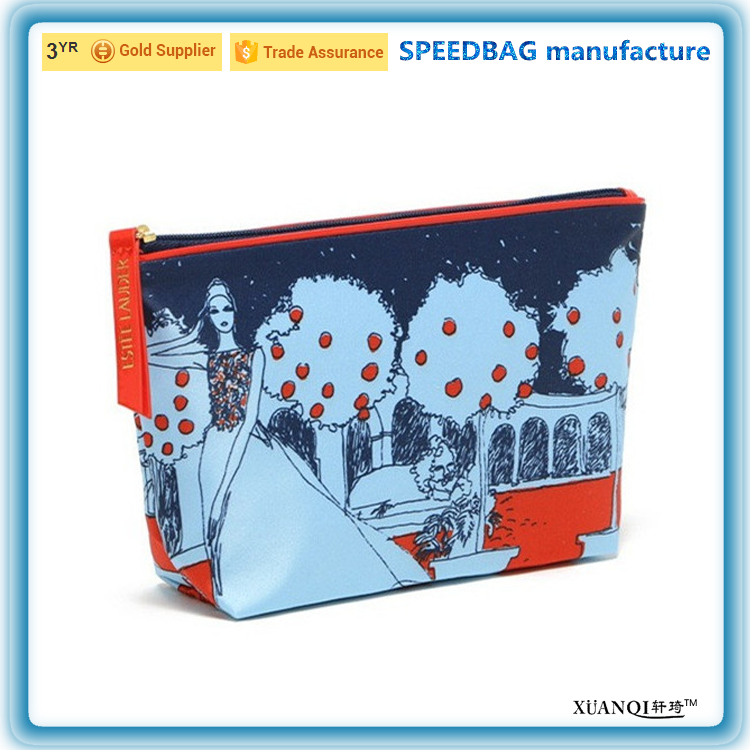 digital print leather cosmetic bag travel dumpling toiletry bag