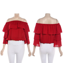 wholesale long sleeve lady chiffon ruffle blouse plus size clothing