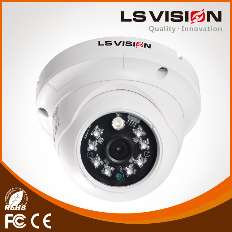 LS VISION 5mp hd waterproof ir network camera 720p resolution network dome camera alarm easy to install p2p ip camera