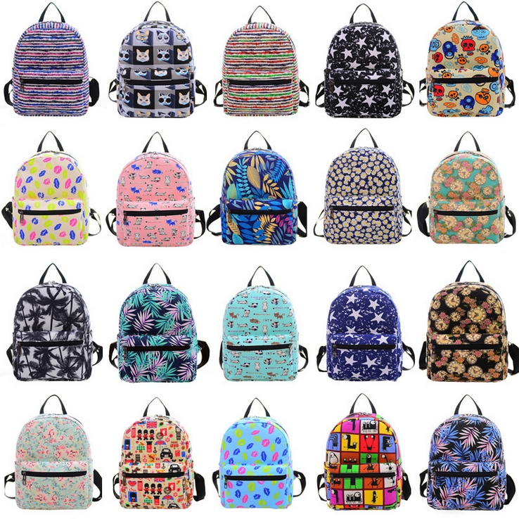 Small Printed Backpack for Women Hot Sale Canvas School Bags Fashion Women's Bags Rucksack for Girl Student