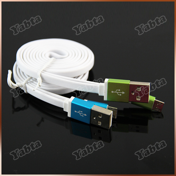 Custom Laser Logo Private Lable Flat USB Cable, 5Pin Micro OEM Data Cable For Samsung Andorid Phone