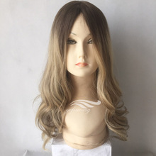 Natural Wavy Dark Roots Ombre Human Hair Front Lace Jewish Wig Kosher Wigs