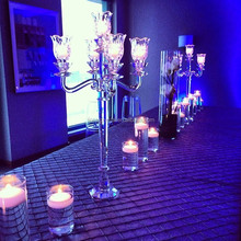 Small simple clear crystal halloween candelabra