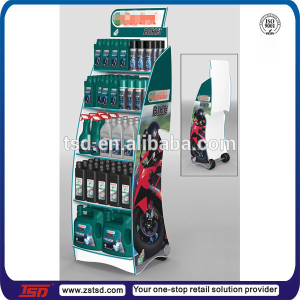 TSD-M954 Factory custom durable floor metal engine oil display stand,motor oil display shelf,lubricating oil display rack