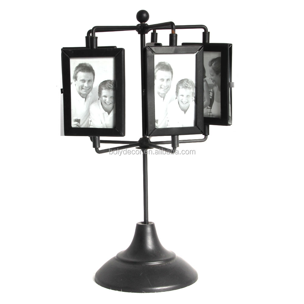 innovative rotating black baby metal photo frame for home decor