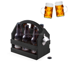 Wooden beer carrier six pack bottle caddy tote holder with bottle opener
