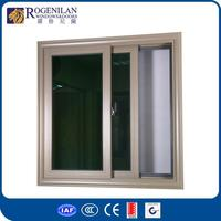 ROGENILAN 88# wooden window design indian cheap price china champagne color aluminum sliding window