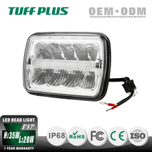 9-32V DC Chromed Offroad Square 5x7 high/low beam Led work Light led trucks headlight with parking Light