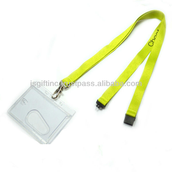Badge holder lanyard with snap hook and safety buckle