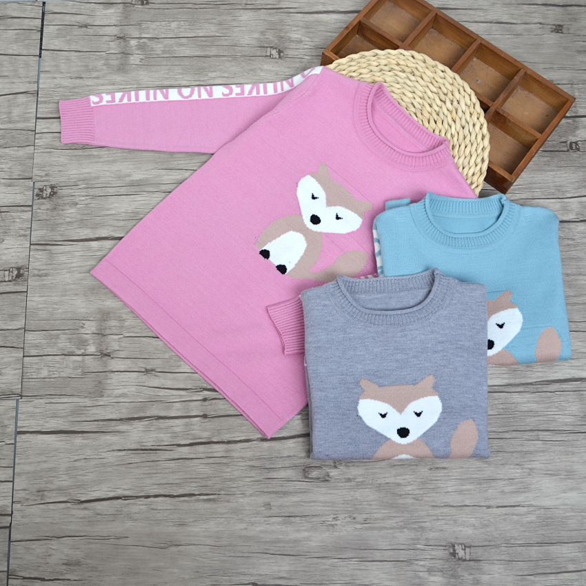 Wholesale Children's Boutique Clothing Kid's Oullover Knitting Patterns Fox Cartoon Sweaters
