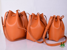 high quality branded tan leather drawstring bucket bags designer women purse C2-292 dropship fast delivery