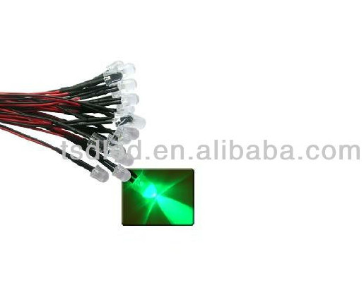 RoHS Approved Super bright 5mm 3mm Green Pre wired LED