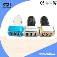 NEW Arrival colored 3 Ports Car charger for mobile phone and pad 6.6A CE,RoHS,FCC