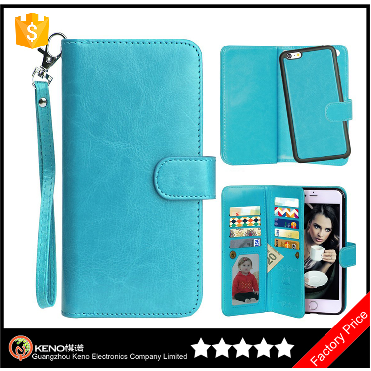 Keno Protective Shell Magnetic Detachable Slim Back Cover Card Holder Wrist Strap for iPhone 6 case leather