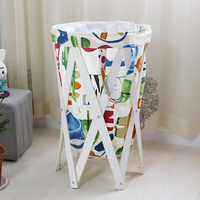 China wholesale suppliers Wooden Collapsible Laundry Basket high capacity Washing Basket