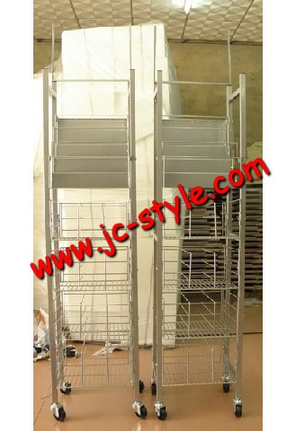 retail wine bottle display rack/metal wire basket display shelf for bottles/supermarket sales promotion vodka wine display stand