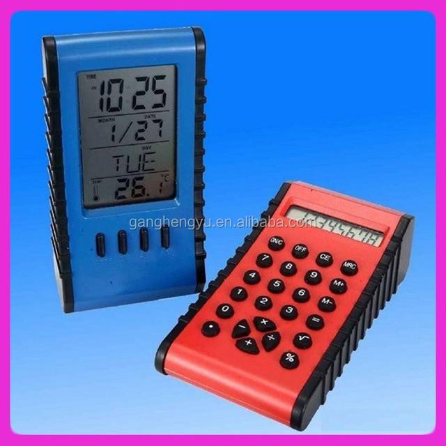 Double-sided digital calender clock calculator