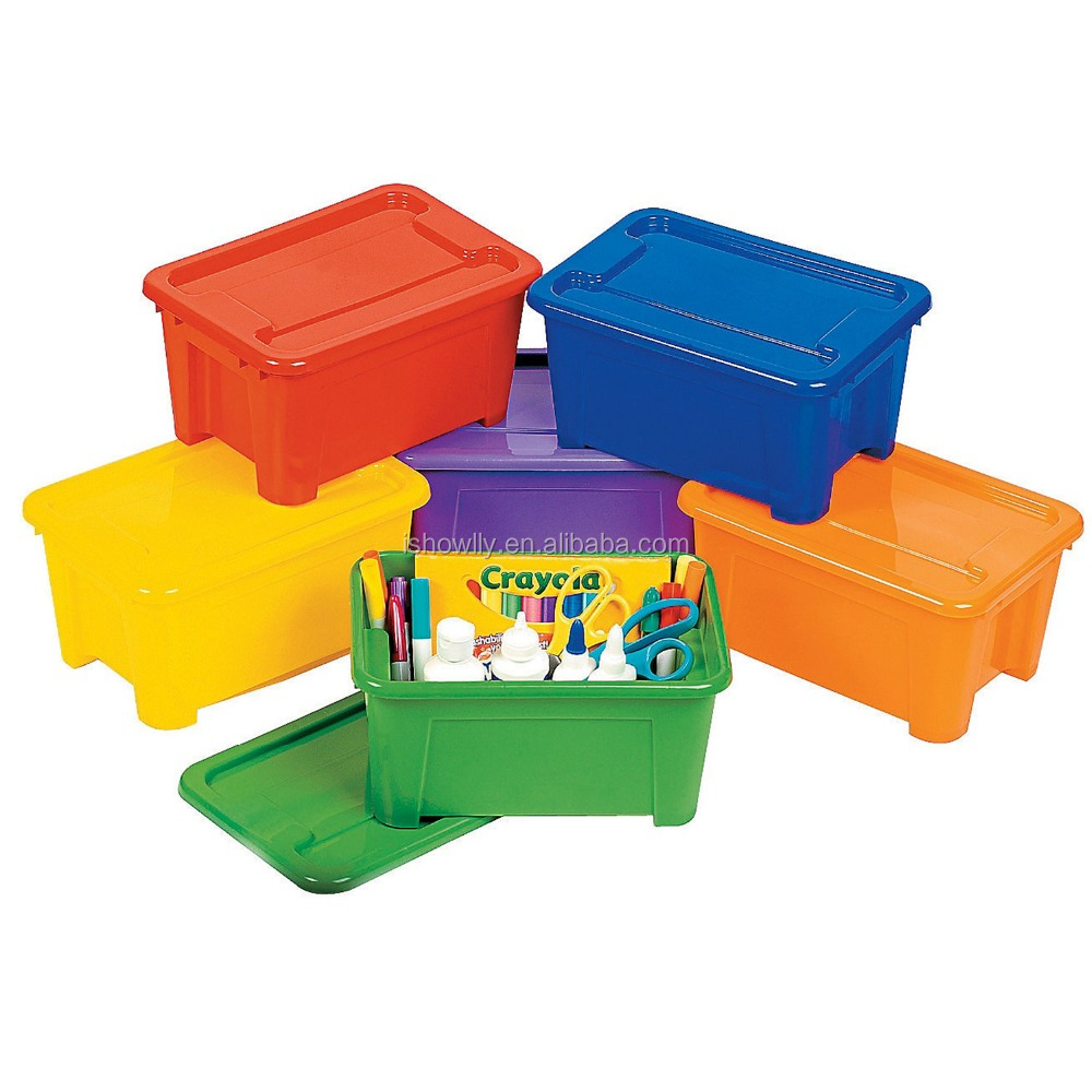 NEW Fancy Nestable and Stackable Colorful Storage Boxes Plastic Containers Rectangle Bins Organizers with Lids Wholesale