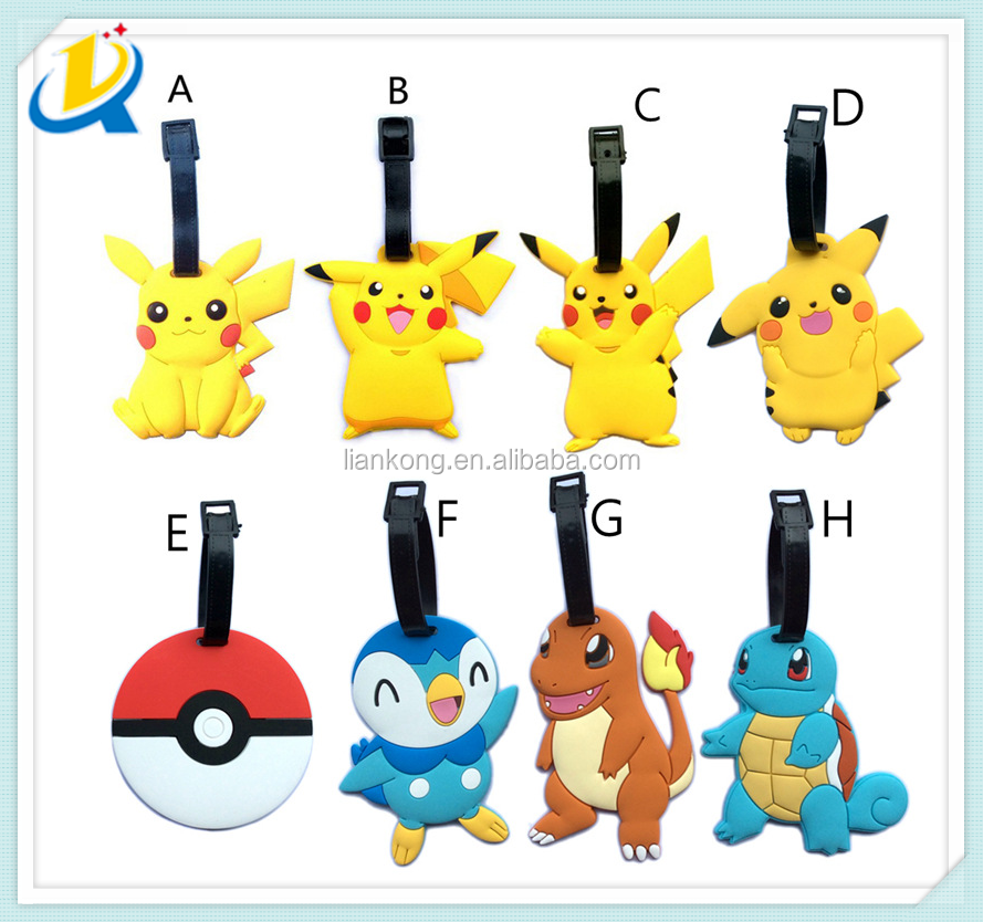 high quality pokemon leather luggage tag
