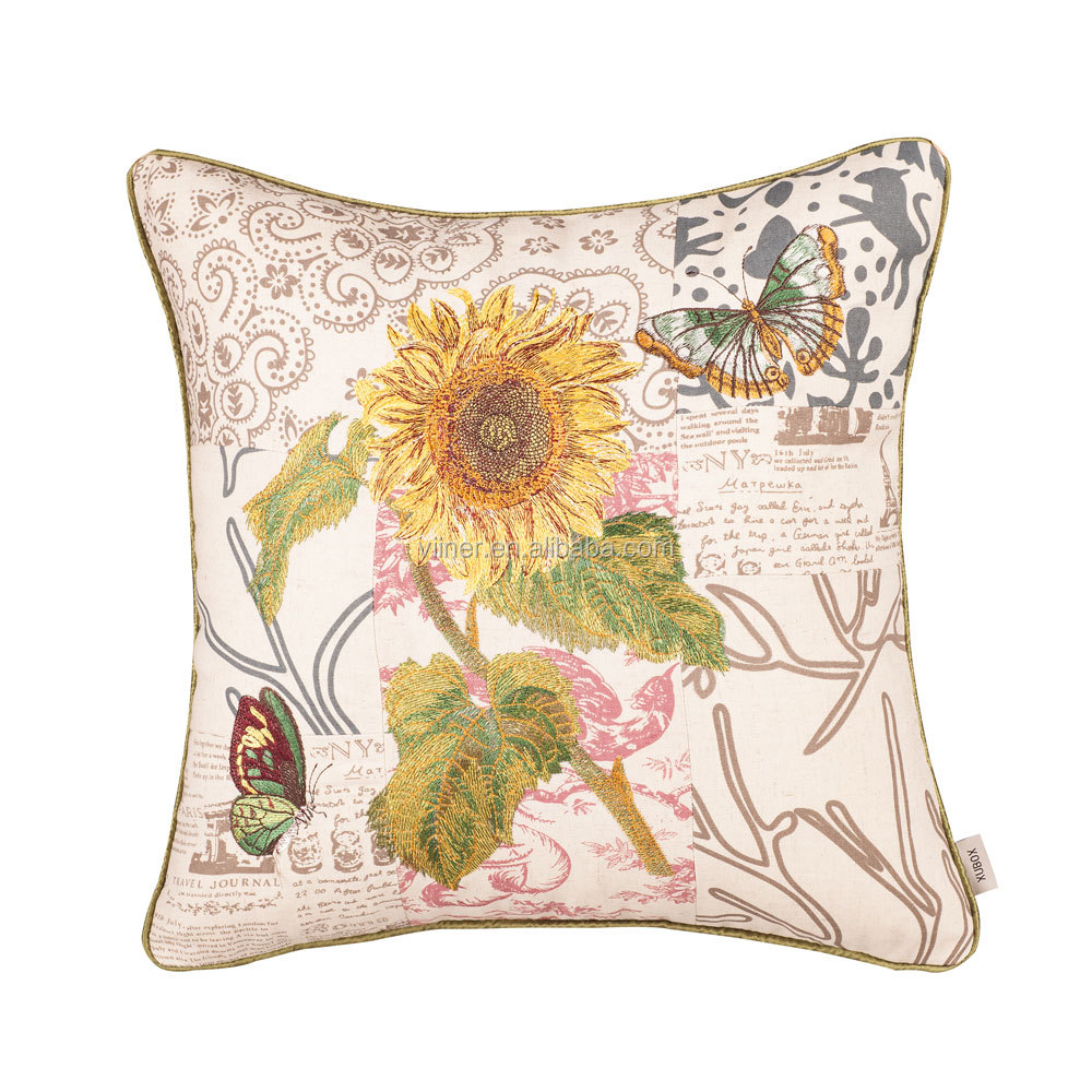 Golden Sunflower Printed Throw Pillow Cover Beautiful Butterfly Square Decorative Cushion Sofa Cushion Pillow