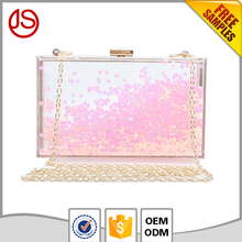 Elegant clear with Pink heart liquid glitter acrylic powder ladies clutch party bag