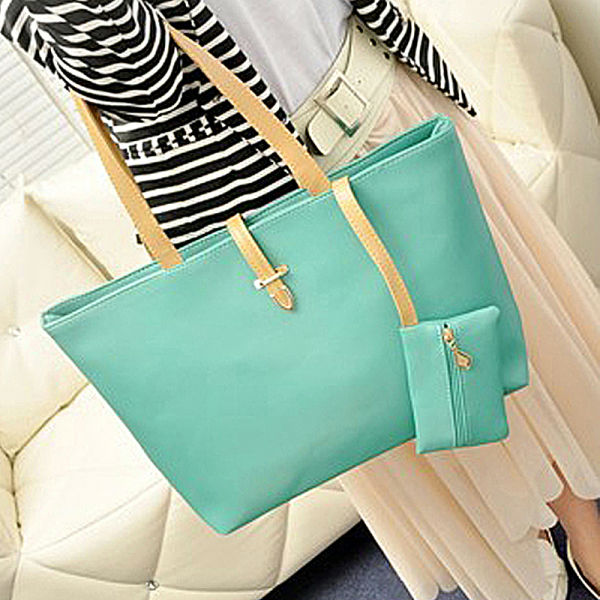 Women Fashion Solid Candy Colors Simple PU Leather <strong>Handbag</strong>, Big Shoulder Bags, Solid Totes 8155