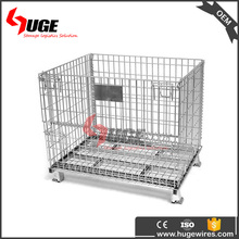 Pulley Rolling Metal Storage Cage Steel Crate With 4 Wire Wheels